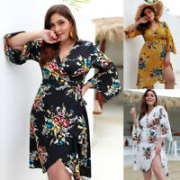 Sexy V Neck Midi Dress Flare Sleeve Women Plus Size Hollow Belted Wrap Sundress