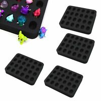 "4 Toy Figure Organizer Fits Shopkins Hatchimals Tray Black Foam 5.9"" x 7.1"" x 1"""