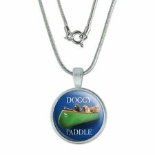 """Doggy Dog Paddle Canoe Dogs 0.75"""" Pendant with Sterling Silver Plated Chain"""
