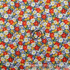 BonEful Fabric FQ Cotton Quilt Rainbow Bright Retro Red White Yellow Flower Tiny