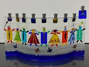Vintage Signed TAMARA BASKIN Fused Glass Jewish Judaic Candle Menorah