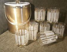 New listing Servemates 9 Piece Bar ware Set 8 - 22k Gold Trimmed Glasses +1 Ice Bucket Euc!