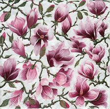 4x Designer PAPER NAPKINS for Decoupage MAGNOLIA FLOWERS FLORAL