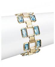 NEW LAUREN Ralph Lauren Bezel Set Blue Glass Stone Gold-Tone Flex Bracelet $88