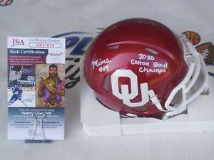 Marvin Mims Jr signed Oklahoma OU Sooners mini helmet Cotton Bowl Champ JSA COA
