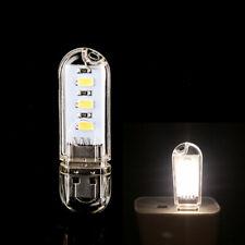 2x Auto Car 3 LED White Mini USB Night Light Lamp Gadgets for PC Laptop Reading