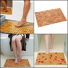 Wood Bath Mat Feet Shower Floor Natural Bamboo Non Slip Large 27 x 19 Inch