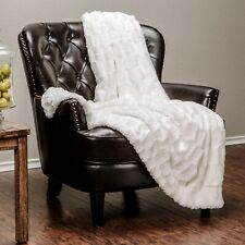 Chanasya Faux Fur Embossed Pattern Throw Blanket for Bed Couch Chair Living Room