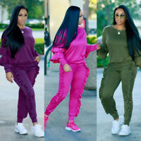 Women Ruffle Tops 2PCS Tracksuit Sweatshirt Long Pants SportsWear Jogging Suits
