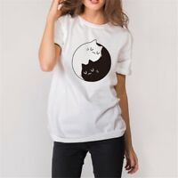 Summer Women's Short Sleeve Cat Print Tee O-Neck Pullover Tops Blouse T-Shirts