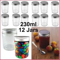 BULK 12x 230ml Glass Jars Screw Lid Preserving Wedding Favours Small Spice Honey