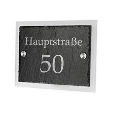 Schiefertafel Türschild mit Acrylglas inkl. Gravur Straßenname mit Hausnummer