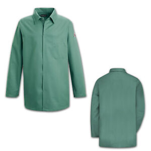 Bulwark Flame Resistant Clothes Work Coat EXCEL FR Uniform Visual Green KEW2VG