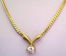 Bijou Vintage collier plaqué or chaîne serpent plate cz diamant 3502