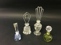 4pcs Vintage Crystal Perfume Bottles With Stoppers - Lot 3331