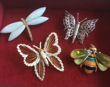 New ListingVintage Monet Brooch Pin Lot (4) Insects Bugs Butterfly Bee Dragonfly