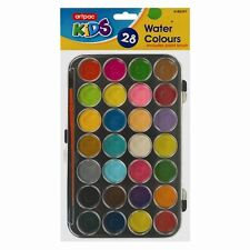 28 WATERCOLOUR PAINT & PAINTBRUSH IN CASE PALETTE CRAFT ARTIST DRAWING KIT NEW-T