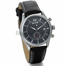 Men's Casual Skeleton Automatic Mechanical With Date Leather Band Wrist Watch