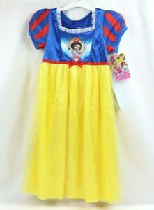 Disney's Snow White Dress-Up Blue and Yellow Glitter Nightgown NWT 2T or 3T