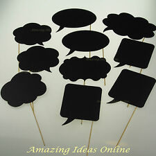 10 Piece Photo Booth Props Variety Charcoal Card | Wedding Party Fully Assembled