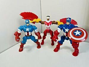 Marvel Super Hero Mashers Captain America & Falcon Action Figures Toy Bundle