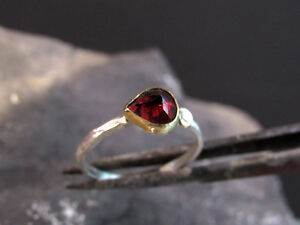 18k yellow gold & sterling silver ring with red garnet.Handmade very UNIQUE ring