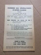 Document politique tract Le Mouvement Croix de Feu Volontaires nationaux