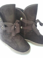 Ladies Outdoor Cosy Fleece Faux Fur Snow Ugg Boots Chocolate - Milly
