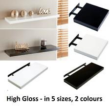 Modern HIGH GLOSS Shelf Floating Wall Shelves White Black Grey Bookcase Display