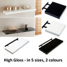Modern HIGH GLOSS Shelf Floating Wall Shelves White Black Grey Bookcase Display