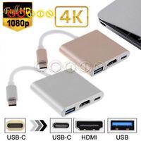 Type C to 1080P HDMI USB 3.0 Charging HUB USB-C Adapter Converter For Macbook 4K