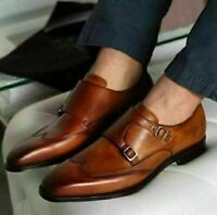 Handmade Men's Brown Leather Wing Tip Double Monk Strap Dress/Formal Shoes