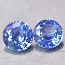 Natural Top 5.5mm Blue Sapphire Round Cut Pair 1.38 Ct Sri Lankan Gemstone Sale