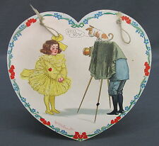 Old Tuck Outcault Paper Hanging Valentine Heart Shaped Tigue Girl Photograph