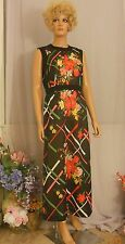 Vtg 60s/70s Alison Ayres Black Polyester Mod Gown w Multi Block Print Flowers, 8