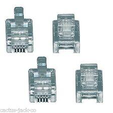 4 x 6/4 rj11 NUOVO modulare TELEFONO Plug per cavi piatto