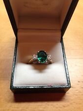 NEW 18CT Oval Emerald & Diamond 3 Stone Ring in size N