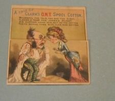 A Tale of Clark's ONT Spool Cotton Fold Down Story Victorian Trade Card Antique