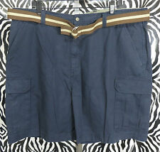 St.Johns Bay Mens Size 44 Navy Blue Cargo Shorts With Belt VGC