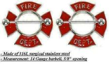 Body Jewelry Pair 14 Gauge Nipple Ring Bars Fire Department