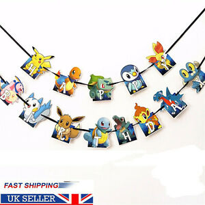 Pokemon Pikachu Birthday Party Banner Decoration Tableware Kids Garlands Bunting