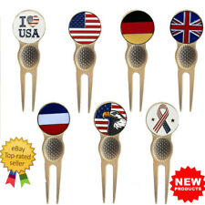 Golf Divot Tool Magnetic with UK Flag Ball Marker Repair Pitch Range Golden 1 Pc