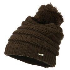 CC Beanie Women Men Acrylic Thick Cap Hat Pom Pom Cable Knit Slouchy Oversized