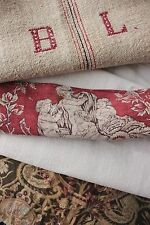 Antique French fabric vintage material PROJECT scraps patchwork grainsack old