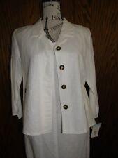 3044) Harve Bernard 2 Pc Suit Dress/Jacket Linen Cotton SZ 8 Off White NWT