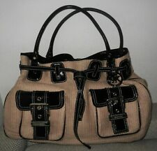 Michael Kors Tan & Black Patent Leather &Faux Straw Large Drawstring Bucket Bag