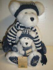 Boyds Bear Teddy White Plush Blue Hat Scarf Love P 00004000 illow Snowflake with Mini orna