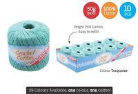 10 x Super Soft Crochet Cotton Ball 50g Wool Yarn Turquoise NEW (WIN-086)