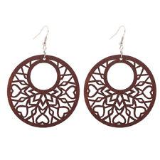 1 Pair Wood Earrings brown Hollow African Woman Earrings Pendant 5.5cm/2.2' E312
