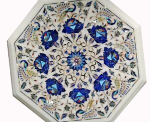 """12"""" White Marble Table Top Floral inlay Work Octagon Shape"""